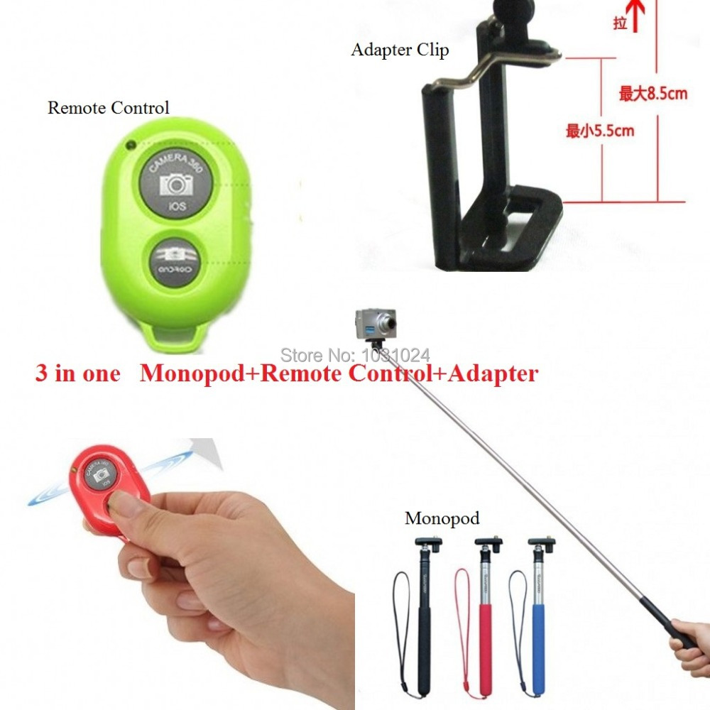 3 in one Together Portable Handheld Self-timer Monopod with Adapter Clip and Wireless Bluetooth Remote Control for Mobile phone(China (Mainland))