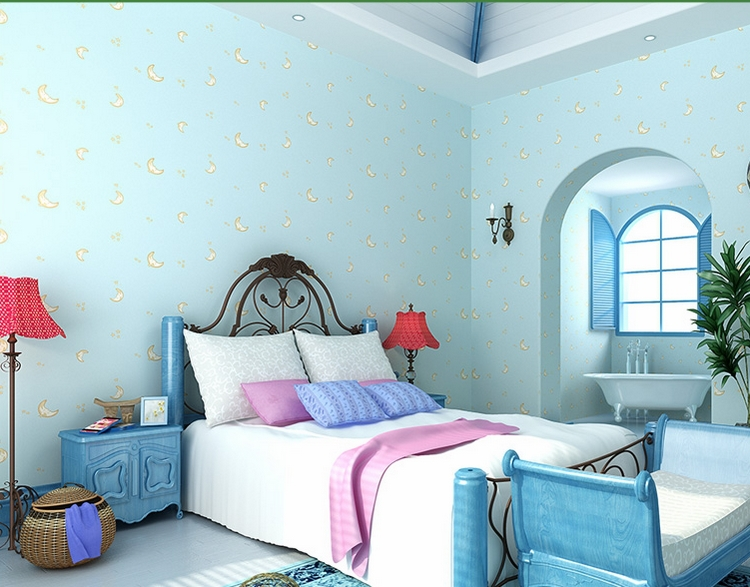Light blue wallpaper for boys and girls room moon face for Blue wallpaper designs for bedroom