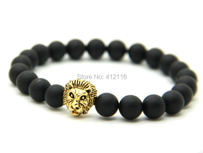 2015 New Design Mens Bracelets Wholesale 8mm Matte Agate Stone Beads Antique Gold, Silver and Rose Gold Lion Head Bracelets(China (Mainland))