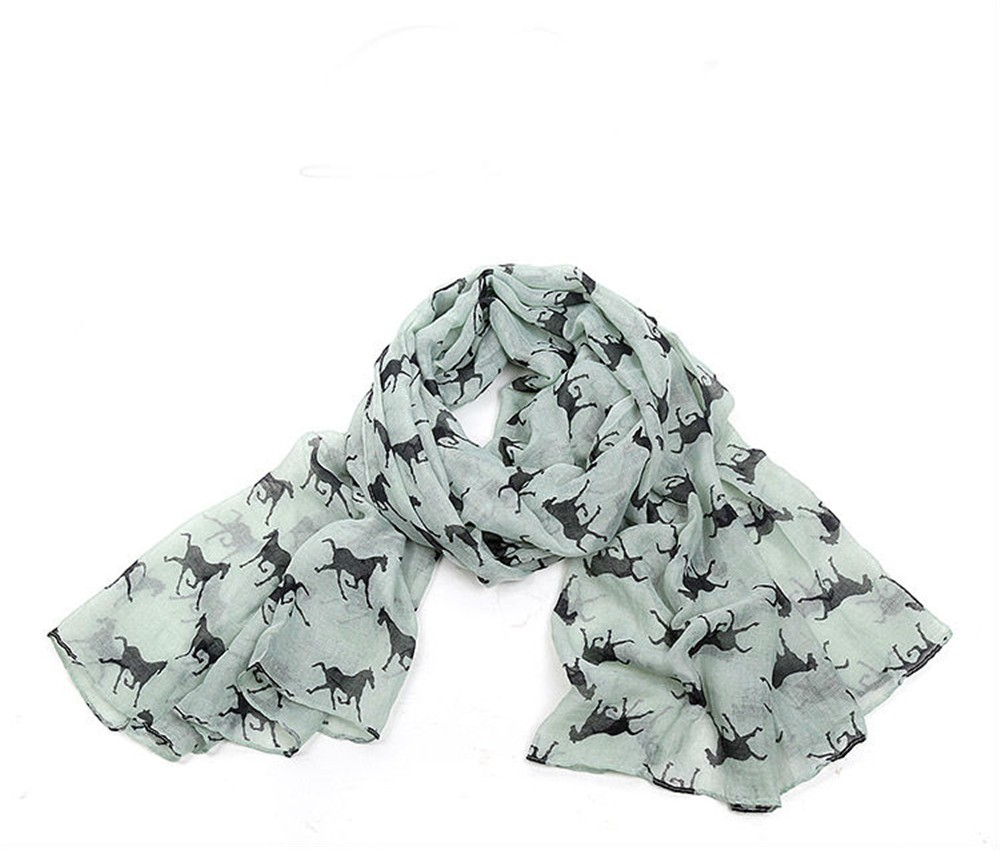 2017 New fashion Mini Horse Design Scarves Shawls Women's Winter Spring Warm Soft Snood Cotton Voile Infinity Scarf Women 6Color