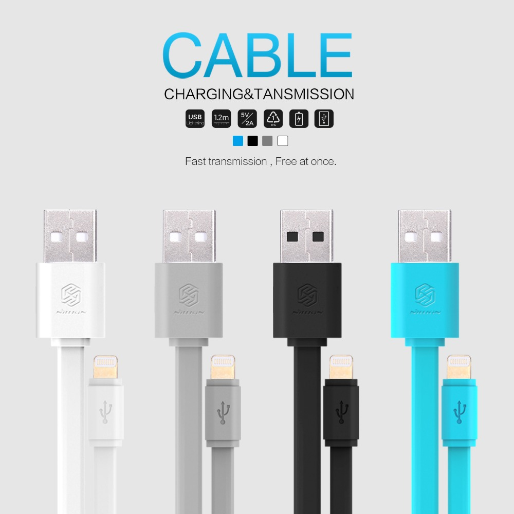 Lighting Port USB Cable For Apple iPhones 120cm Flat Data Transfer Transmission 5V 2A Fast Charging On Tablet Computer For iPad(China (Mainland))