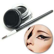 Fashion Cosmetic Waterproof Eye Liner pencil make up black liquid Eyeliner Shadow Gel Makeup + Brush Black
