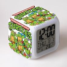 TMNT Turtles LED 7 Colors Change Digital Alarm Clock Thermometer Night Colorful Glowing toy Teenage mutant ninja turtles(China (Mainland))