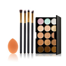 Professional Makeup Set 15 Colors Concealer Palette+Makeup Foundation Sponge+4 Pcs Cosmetic Brush Best Price(China (Mainland))