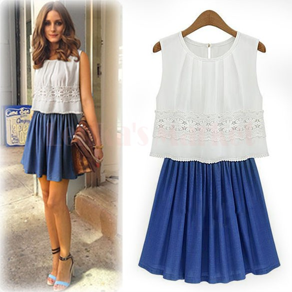 Chiffon Lace Dresses Women Summr 2015 Sleeveless Casual Sexy Mini Elegant White Dress 24(China (Mainland))