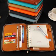A5 Leather Spiral Notebook,Zipper Binder Agenda Planner Organizer,Macaron Large Capacity Padfolio Document Organizer caderno