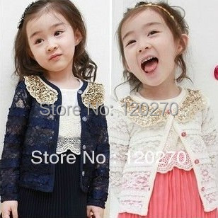 Baby Girl's Flower Lace Gold Sequins Collar Cardigan Spring Outwear Children's Tops Clothing Jackets Princess Coat - Honey Baby's store