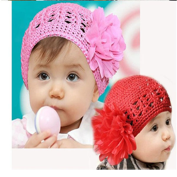 Cute Toddlers Girls Baby Beanie Hat Handmade Flowers Crochet Knitting Cap 1-2Y For Free Shipping(China (Mainland))