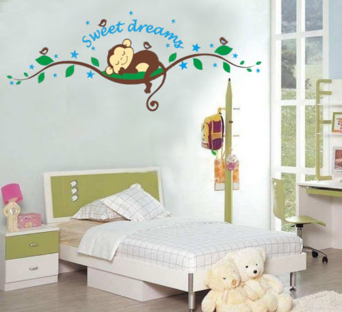 Cheeky Monkey sweet dream Removable Wall Stickers Decal Kid Nursery Baby Decor(China (Mainland))
