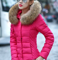 Coat Jacket Women Cotton Down Parkas Luxury Large Fur Collar With Hood Coat Female Short Thick Outerwear Plus M-3XL 2014  Winter
