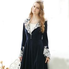 Lace Vintage Royal Robes Female Thickening Long-Sleeve Plus Size Princess Bathrobe Long Design Lounge Sleepwear Women Nightwear(China (Mainland))