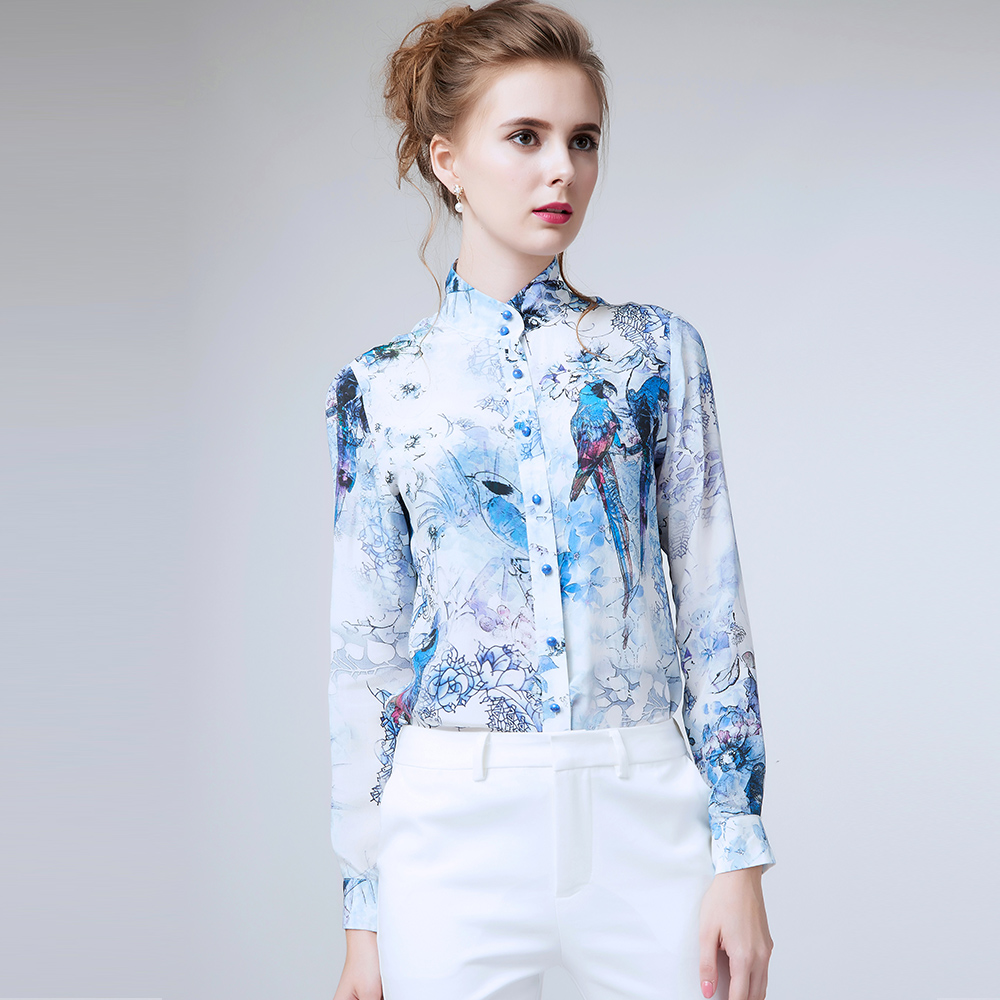 Spring 2016 Flower Printed Long Sleeve Chinese Silk Blouse Women Turn Down Collar Chiffon Shirts Big Size XXL Women Clothes(China (Mainland))
