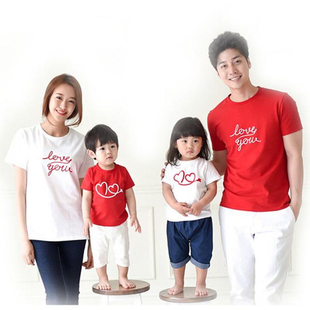 Семья мода в форме сердца любовь летом с коротким рукавом - рубашка соответствия ...
