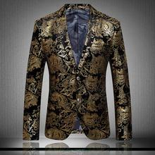 New winter High quality men blazer slim fit 2015 men suit flower color matching leisure jacket