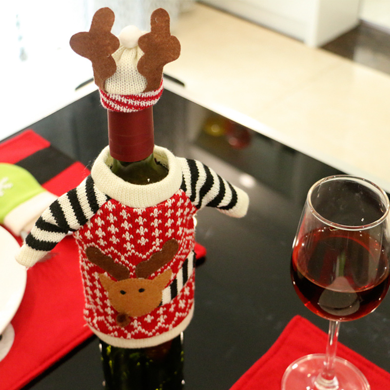 1pc Red Wine Bottle Cover Bags elk decoration noel Christmas Dinner Table Home Party Decors Santa Claus Christmas Supplier Y55(China (Mainland))