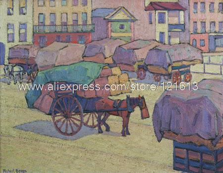 Robert Bevan Hay Carts Cumberland Market New Hand Painted Canvas Picture Restaurant Decoration Restaurant Back(China (Mainland))