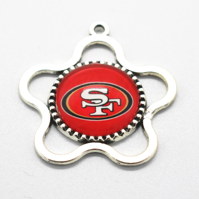 NFL Flower Sports San Francisco 49ers Team Hanging Dangle Charms Glass Necklace Floating Charms Fit Pendant Jewelry 10pcs/lot(China (Mainland))