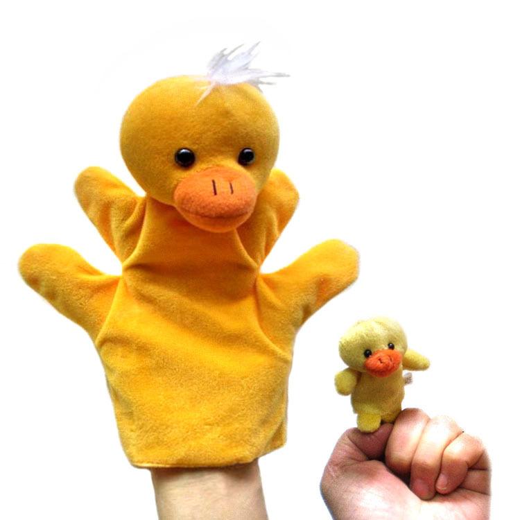 Duck hand+finger puppet set Children baby plush Stuffed Toy yellow duck hand puppet kid Christmas birthday gift(China (Mainland))