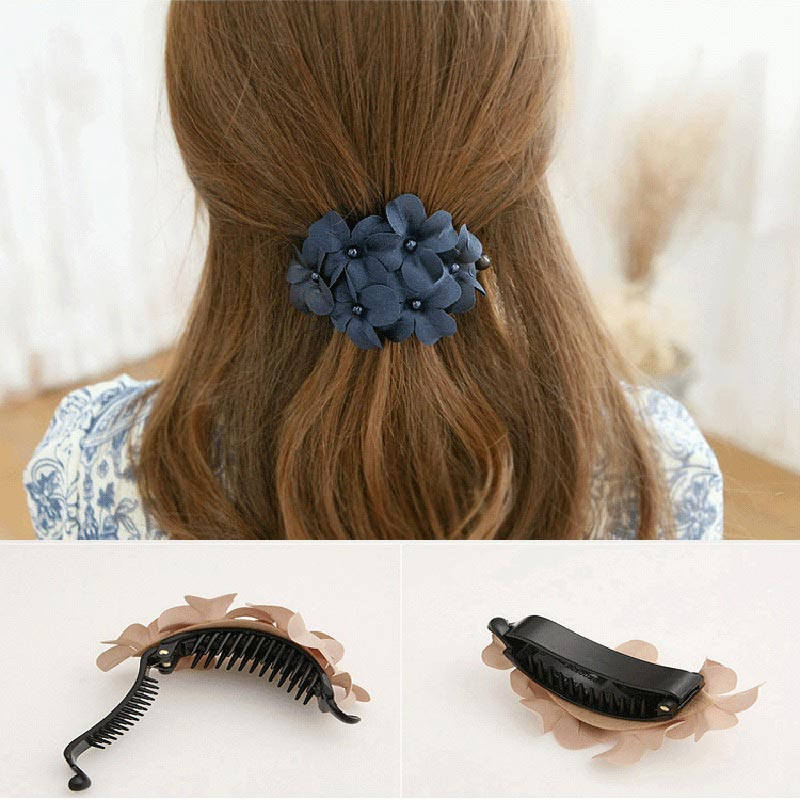2016New Hot Sale Pretty Girl Ladies Handmade Flower Barrette Hair Claw Hair Clip Hair Fashion Accessories Hair Jewelry Nice Gift(China (Mainland))