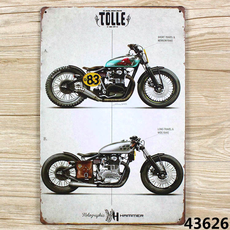 Two motorcycles! vintage tin signs retro metal sign plate painting decor the wall of garage bar club cafe home and so on(China (Mainland))