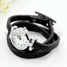 Fashionable PU Leather Wrap Watch Bracelets, with Alloy Watch Face and Alloy Findings, Platinum Metal Color, Black(China (Mainland))
