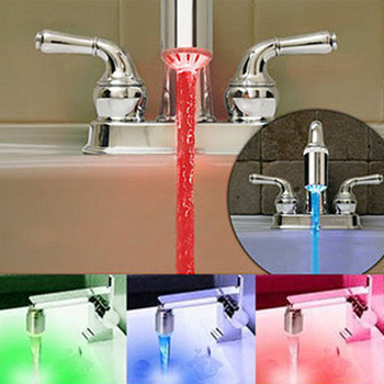 2015 Temperature Sensor 3 Color Water Tap Faucet RGB Glow Shower Colorful LED Light
