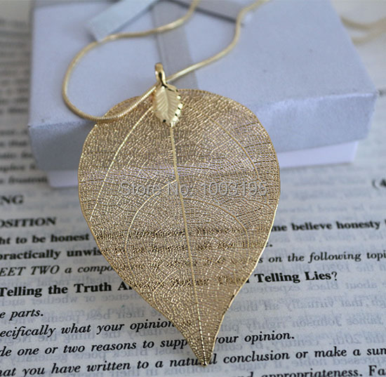 hot  accessorize hot design  24k real gold Silver plating natural real leaf long necklace Pendant for women(China (Mainland))
