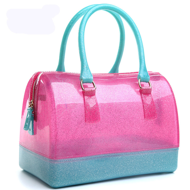 Jelly Transparent Bag Jelly Bags 2016 Famous Brand Plastic Pink Blue Shoulder Birthday Gift Hand Bags For Women Top Handle Gold(China (Mainland))