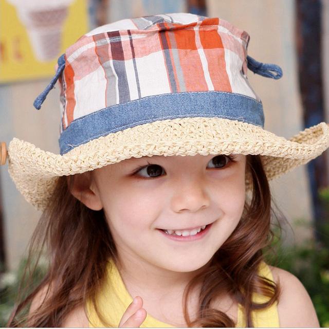 2015 весны детский соломенная шляпа цветочная девушка крышка девочка летние шляпы девушка шляпа солнца пляж козырек шляпа