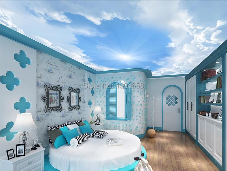 Papel de parede customization 3D large murals, children room living room bedroom ceiling wall wallpaper sky(China (Mainland))