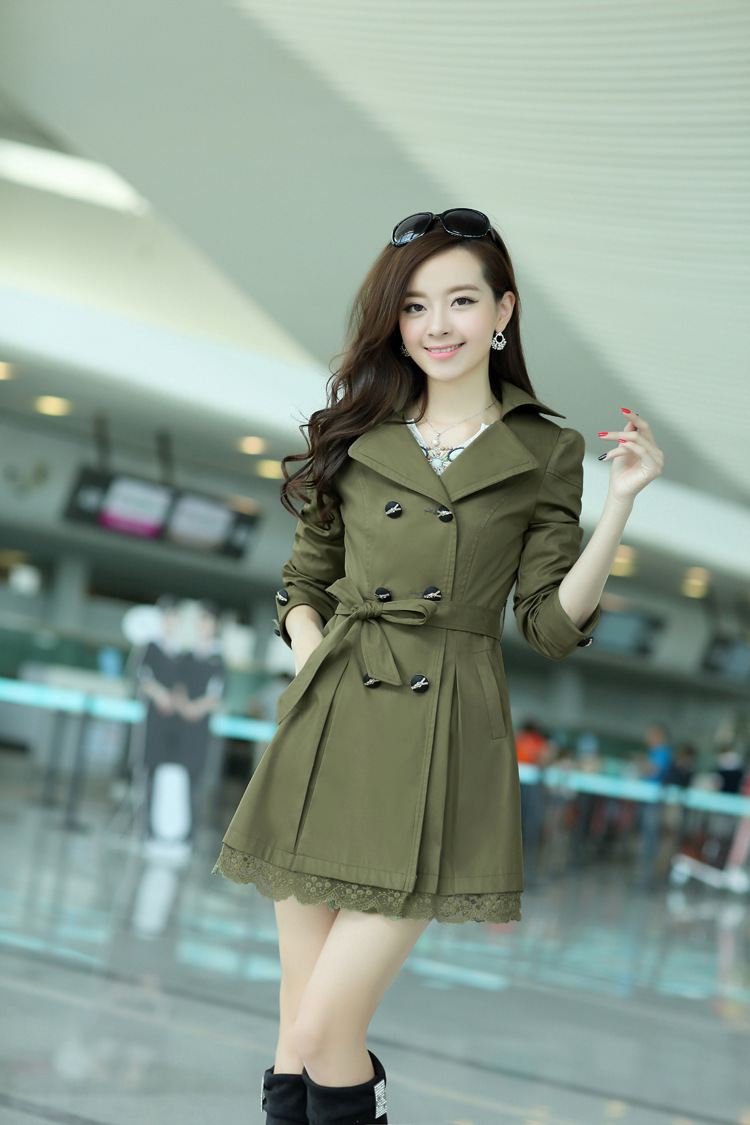 2015 new Korean women's Spring and Autumn ladies windbreaker coat big yards long section free shipping