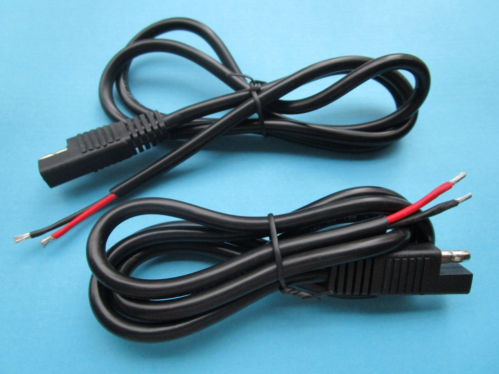 1 pcs Battery Tender SAE Connector DC Power Automotive DIY Cable 2x1.5mm^ Round black Color 100cm(China (Mainland))
