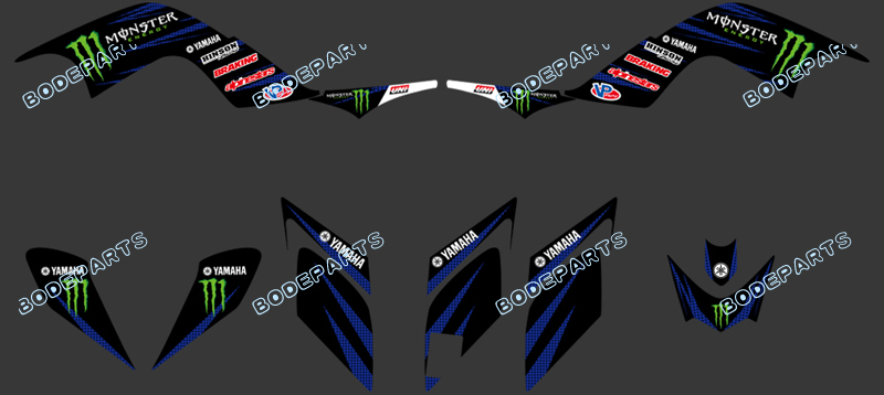 DST0328(power black-blue) New TEAM DECALS STICKERS Graphics Kits for YAMAHA RAPTOR 700 ATV 2006 2007 2008 2009 2010 2011 2012(China (Mainland))