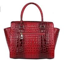 2015 Fashion Women Handbag high-grade  bat bag  Genuine Leather tote crocodile grain Shoulder Bag