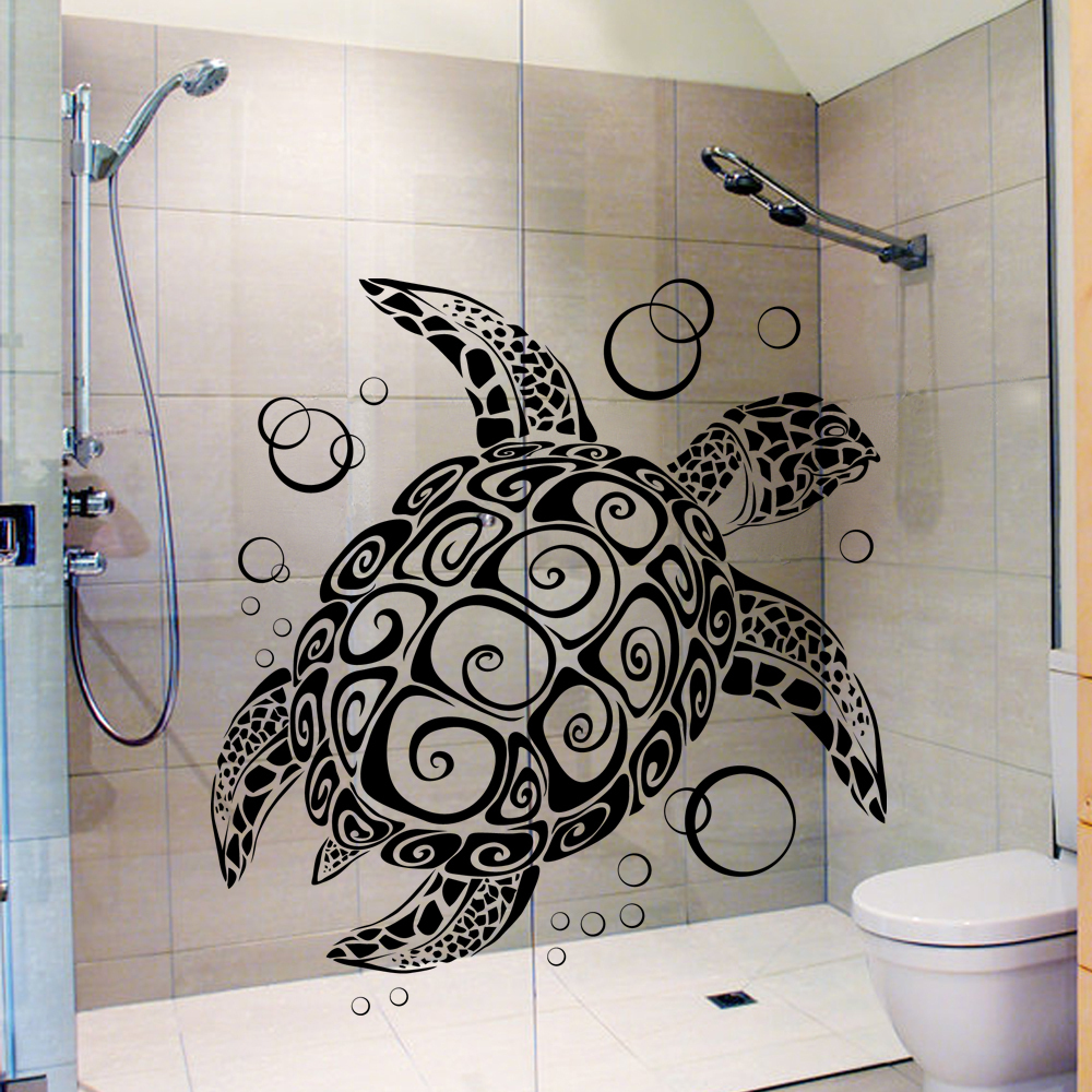 sea turtle with bubbles turtle vinyl wall decal vinyl decor art sticker removable mural. Black Bedroom Furniture Sets. Home Design Ideas