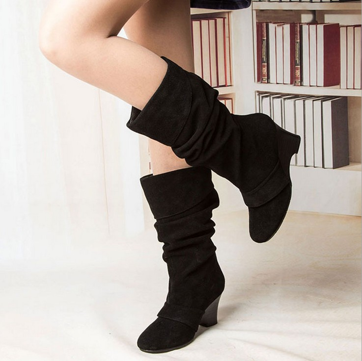 2015 women high Middle boot boots genuine leather Suede leather winter Autumn wedges boots shoes(China (Mainland))