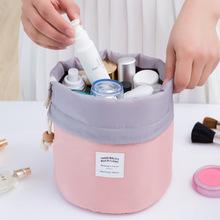 2016 Real New Arrival Barrel Shaped Travel Cosmetic Bag Nylon High Capacity Drawstring Drum Wash Bags Makeup Organizer Storage(China (Mainland))