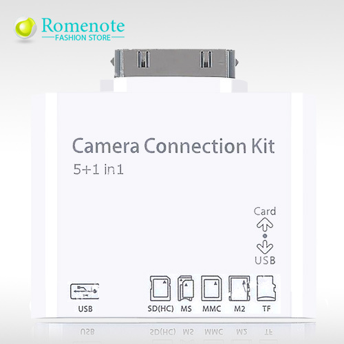 Hot 5 1 Camera Connection Kit USB Adapter SD MS MMC M2 TF Card Reader iPad2/3 New iPad - Deals supplier store