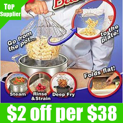 Retail Free shipping 1pcs/lot kitchen chef basket/Chef Basket Deluxe Kitchen Colander Cooking Expandable as seen on TV