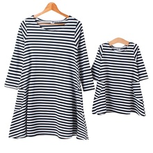 Baby & Mom Family Matching Outfits Dress Women Kids Pajamas Stripe Three Quater Sleeve Mother and Child Clothing L4