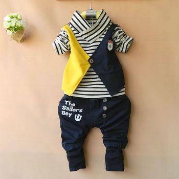 Retail 2015 New Children Clothing Sets Kids Wear Baby Boys Sports Suit Striped T shirt + Letters Pants Boy's Clothes Suit
