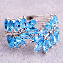 Saucy Olive Branch Design New Fashion Blue Topaz 925 Silver Ring Size 7 8 9 10Women