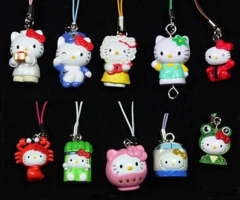 10pcs Hello Kitty Cell Phone Mp3 Strap Charm Figures C2