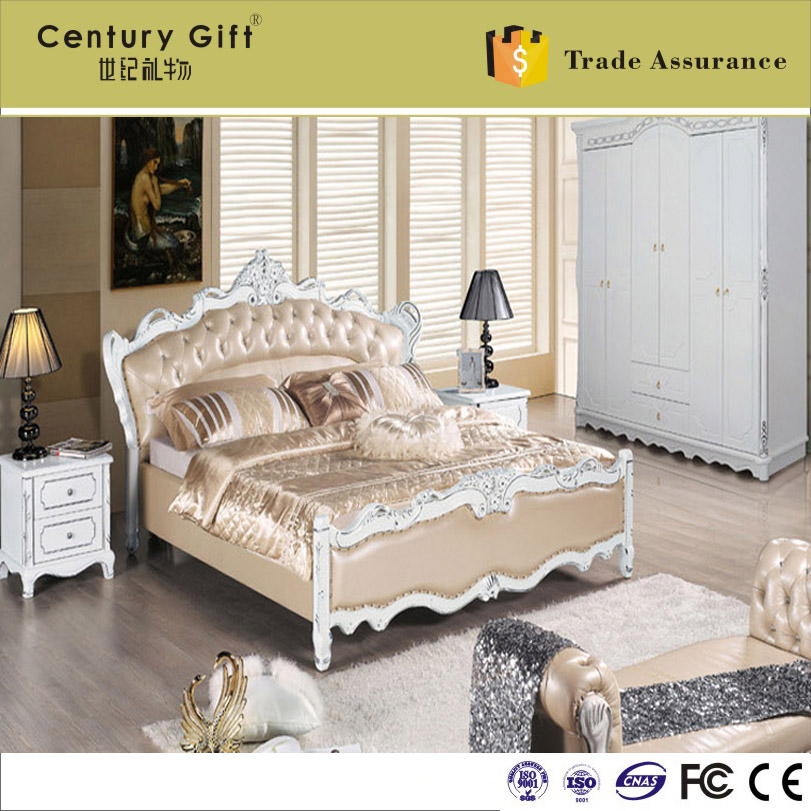 European-style solid wood imported French oak leather storage software bed of carve patterns or designs on woodwork marital bed(China (Mainland))