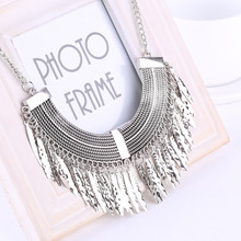 Gold Silver Gray 3 Colors Tassel Necklace Collier Femme High Quality Vintage Jewelry Statement Chokers Necklace Pendants(China (Mainland))