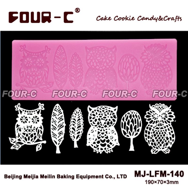 Cute Owl silicone lace mold,sugar art silicone lace mat,cupcake mold,fodant silicone cake mold(China (Mainland))