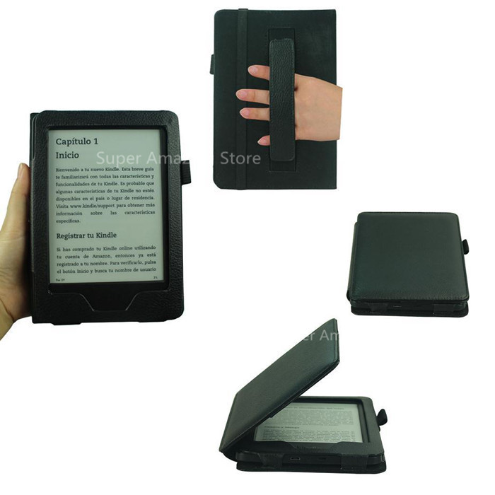 kindle case 6 inch Black Leather Protective Case For Amazon Kindle 7 E-book Flip Cover With Hand Strap For Kindle7(China (Mainland))