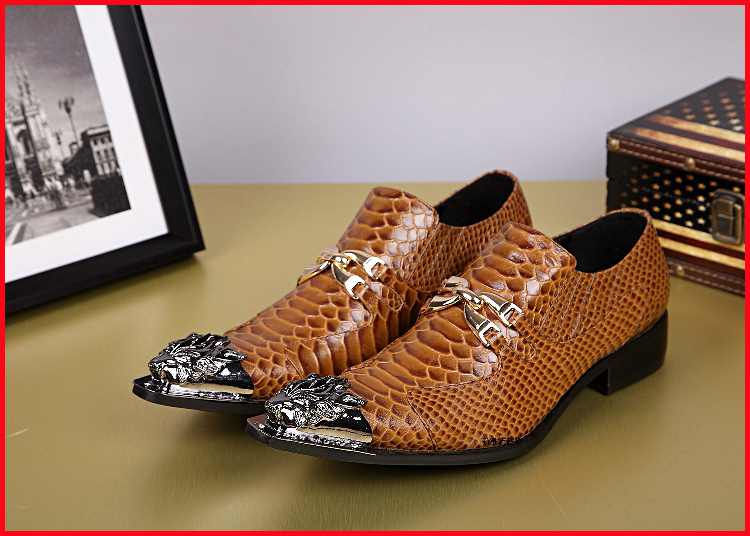 2015 New Dargon Brown Snake Skin Design Men Classic Leather Shoes Men Leather Shoes Italian Chaussure Classiques Cuir Size 46<br><br>Aliexpress
