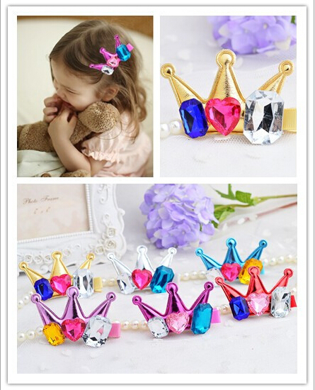 High Quolity Children's hairpins imitated colored diamond crown barrettes cute crystal tiaras hair clamps for baby 20pcs/lot(China (Mainland))