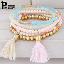 6pc/set Fashion Multilayer Summer Candy Color Beads Tassels Bracelet For Women Bohemian Elastic Jewelry Pulseiras Femininas 2016(China (Mainland))